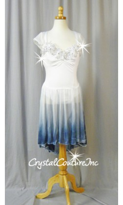 White Leotard with White/Blue Ombre Skirt - Swarovski Rhinestones