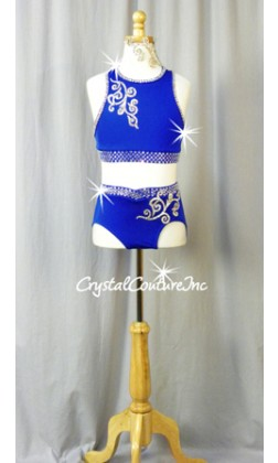 Royal Blue 2-Piece Crop Top and Brief - Swarovski Rhinestones
