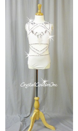 White Lycra and Sheer Mesh Leotard with Appliques - Swarovski Rhinestones - Size AXS