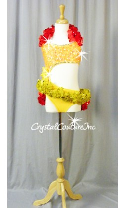 Yellow Connected 2 Pc Top and Trunk with Red/Orange/Yellow Ruffles - Rhinestones