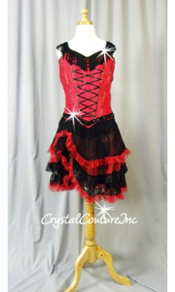 Red/Black 2 Piece Corset Top and Ruffled Lace Skirt - Swarovski Rhinestones