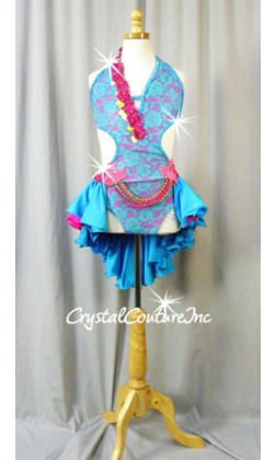 Teal Blue Lace/Fuchsia Open-Back Leotard with Tiered Skirt - Swarovski Rhinestones