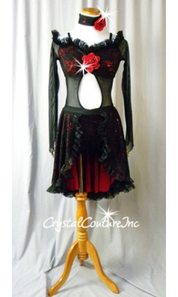 Black Floral Lace with Red Lining and Attached Half Skirt - Swarovksi Rhinestones