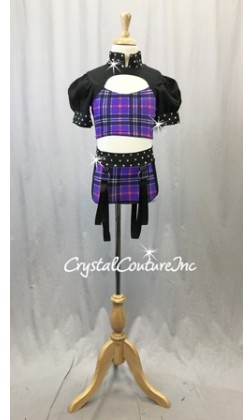 Black and Purple Plaid Two-Piece Cropped Top with Half-Sleeves and Trunks - Size AS