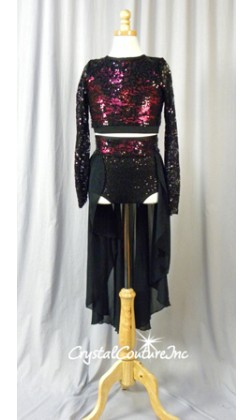 Black Sequin Lace with Shimmery Burgundy Crop Top and Trunk/Chiffon Skirt