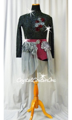 Gray and Burgundy 2Pc Long-Sleeved Top and Booty Shorts/Skirt - Swarovski Rhinestones - Size AL