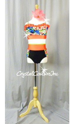 Vibrant Print with Orange Accents 3 Pc Top, Trunk/Ruffles and Skirt - Rhinestone