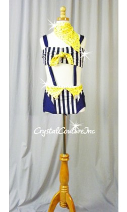 Navy Blue and White Stripe Connected 2 Piece Top & Brief with Yellow Bandanas - Rhinestones