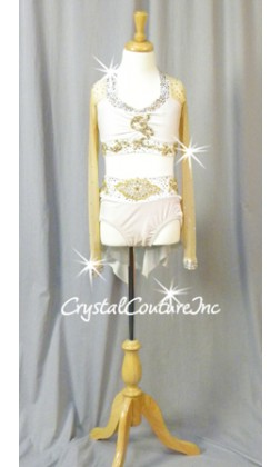 White Velour/Lycra Top & Trunk/Skirt with Nude Mesh - Swarovski Rhinestones - Size YL