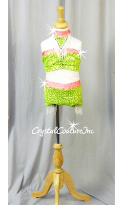 Neon Green Top & Brief with Coral Accents and Beaded Fringe - Rhinestones