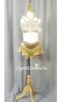 Shimmery Gold 2Pc Bra-Top and Brief/Half Skirt with Appliques - Swarovski Rhinestones
