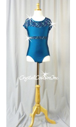 Teal Short-Sleeved Lycra Leotard with Floral Lace and Swarovski Rhinestones