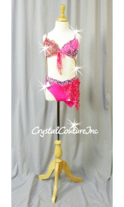 Hot Pink and Red Connected 2Pc Bra-Top with Brief/Skirt - Swarovski Rhinestones - Size YL