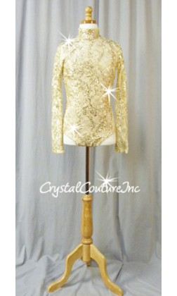 Cream/Gold Sequined Lace Leotard with High Neck and Sleeves - Swarovski Rhinestones - Size AM