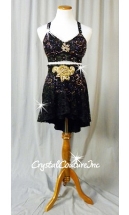 Black Floral Lace Bra-Top and Skirt with Gold Appliques - Swarovski Rhinestones - Size AM