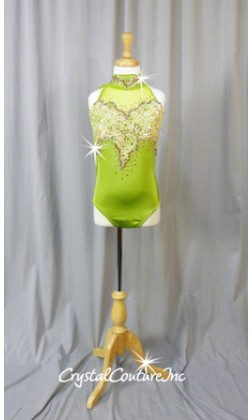 Green Leotard with Lt Gold Lace Accents - Swarovski Rhinestones