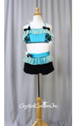 Lt Turquoise and Black Lace Halter Bra-Top and Ruffled Booty Shorts - Swarovski Rhinestones