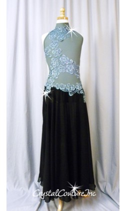 Gray and Black Leotard with Long Chiffon Skirt - Rhinestones - Size AXS