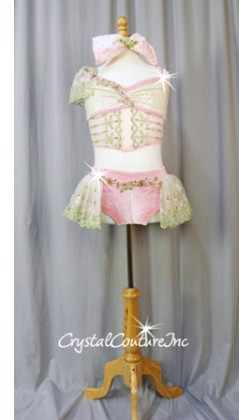Light Pink/Ivory 2-Piece Corset Inspired Top and Trunks/Skirt - Swarovski Rhinestones