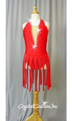 Red Halter Leotard with Piecey and Silver Beaded Skirt - Swarovski Rhinestones
