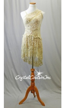 Nude with Ivory Beaded Open Net Lace Dress with Asymmetrical Top & Skirt - Size AL
