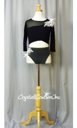 Black 2 Piece Crop Top and Trunks with White Embroidered Appliques