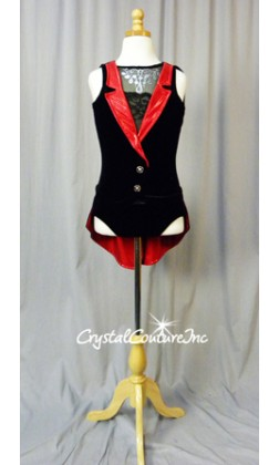 Black Velour Leotard Sheer Mesh Inset/Red Collar with Back Skirt/Tails