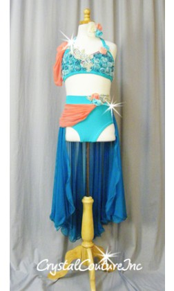 Teal Blue Halter Top & Trunks/Mesh Half Skirt - Swarovski Rhinestones - Size AXS