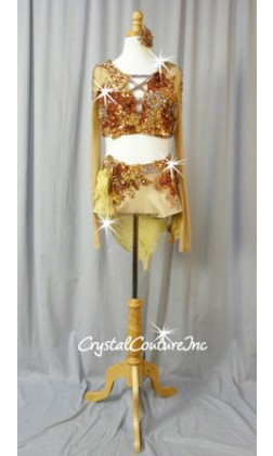 Nude, Copper & Gold Long Sleeve and Booty Shorts/Chiffon Skirt - Swarovski Rhinestones - Size AS