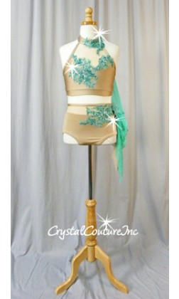 Nude Top and Trunk with Turquoise Embroidered/Beaded Appliques - Size AL