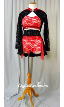 Red Floral Lace Crop Top and Booty Shorts with Black Zsa Zsa Sequin Jacket