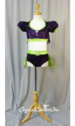 Black/Purple Spider Web Top and Trunk/Skirt with Lime Green Accents