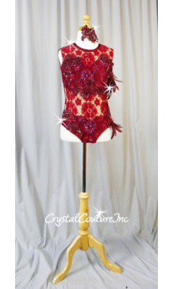 Burgundy Open Net Lace Leotard with Embroidered Appliques and Feathers - Swarovski Rhinestones - Size AXS