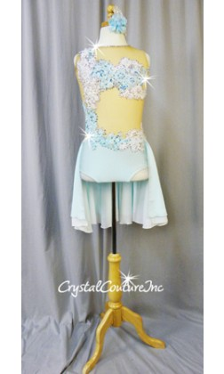 Lt Blue Leotard with Embroidered Appliques and Back Chiffon Skirt - Swarovski Rhinestones - Size AS