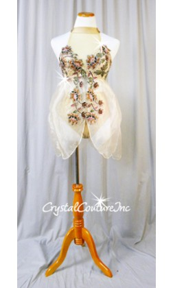 Nude Lace and Chiffon Mock-Neck Fly-Away Top with Trunks - Swarovski Rhinestones