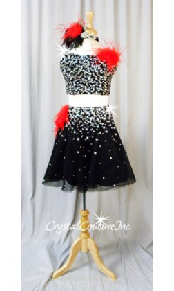 Black 2 Piece Crop Top and Full Skirt with Beading, Sequins and Acrylic Shapes