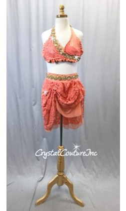 Coral/Orange 2 Piece Bra Top and High-Low Skirt/Trunks - Swarovski Rhinestones - Size YL