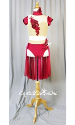 Magenta and  Nude Top & Trunks with Sheer Mesh Back Skirt - Swarovski Rhinestones