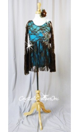 Lt Turquoise Leotard with Brown Floral Lace Overlay & Empire Waist Skirt - Swarovski Rhinestones