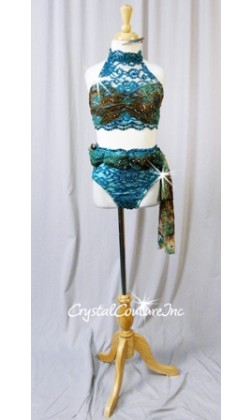 Teal Blue/Lt Turquoise/Brown Lace 2 Piece Crop Top & Trunks w/ Draped Belt - Swarovski Rhinestones