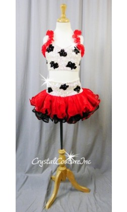 White/Black Sequin & Beaded Crop Top & Skirt with Red and Black Ruffles