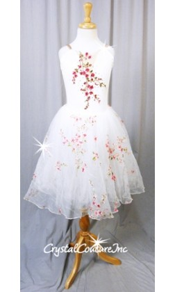 White Floral Romantic Tutu with Chiffon and Tulle Skirt - Swarovski Rhinestones