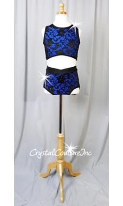 Cobalt Blue Crop Top & Trunks with Black Lace Overlay - Swarovski Rhinestones - Size AXS
