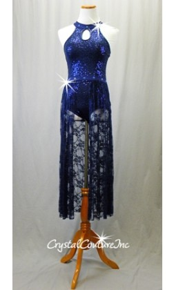 Navy Blue Zsa Zsa Sequin Leotard with Long Lace Skirt - Swarovski Rhinestones