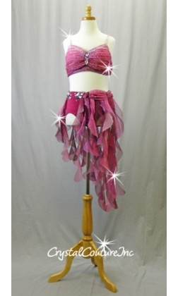 Plum/Dark Pink 2-Piece Bra Top and Trunks with Tendril Skirt - Swarovski Rhinestones