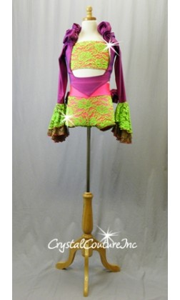 Vibrant Coral/Green/Purple Top, Booty Shorts and Long Sleeve Shrug - Swarovski Rhinestones