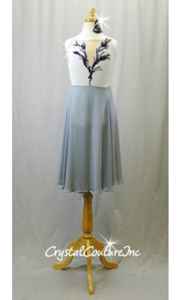 Silver/Gray Leotard with Chiffon Skirt and with Navy Applique - Swarovski Rhinestones - Size YL