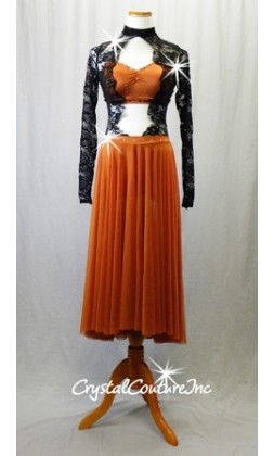 Burnt Orange/Black 1-Piece Dress with Lace Bodice/Sleeves and Long Mesh Skirt