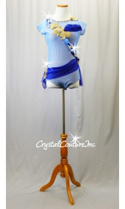 Lt Blue Mesh & Nude Lycra Leotard with Navy Accents and Gold Floral Applique -  Rhinestones