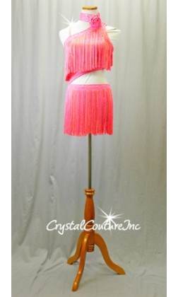 Bright Orange and Pink Connected Top & Skirt with Fringe - Rhinestones